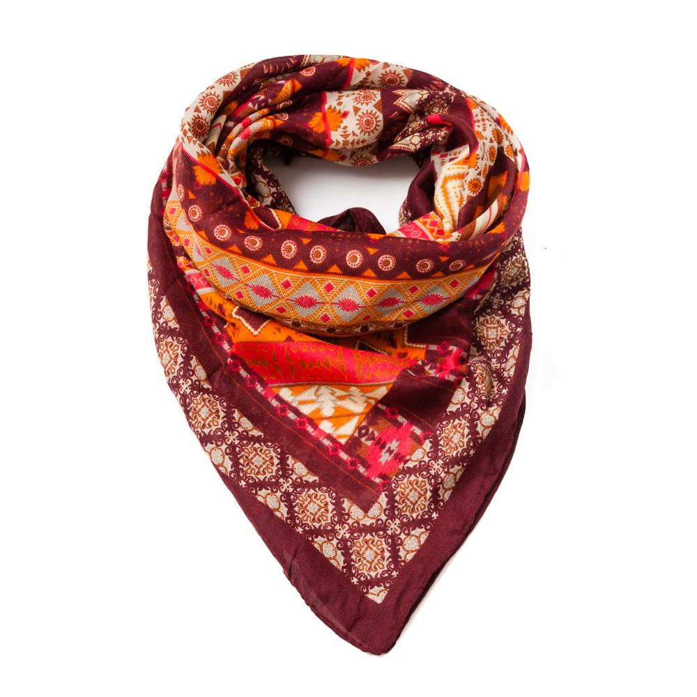Scarf, square multiprinted bordeaux
