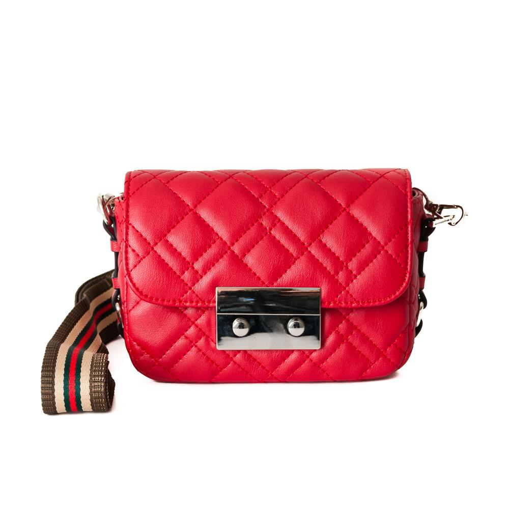 Bag, waffle stitches clutch red