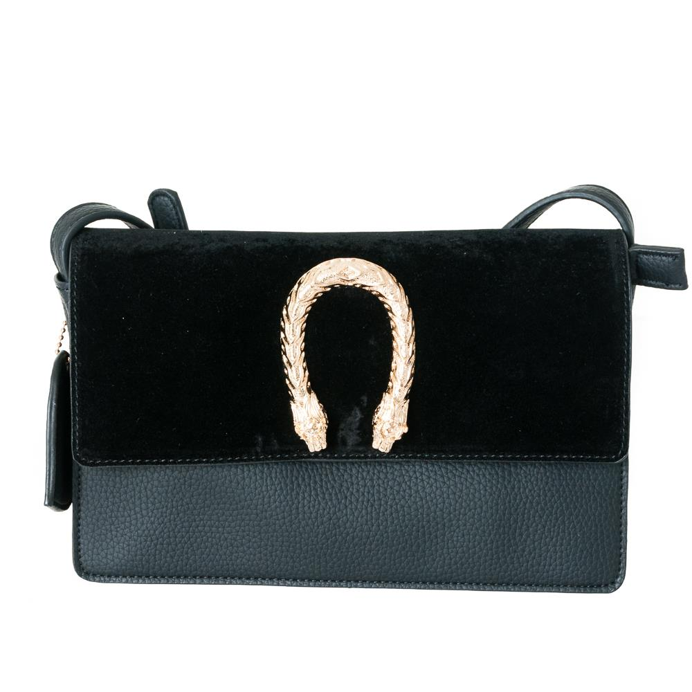 Bag, snake buckle clutch black