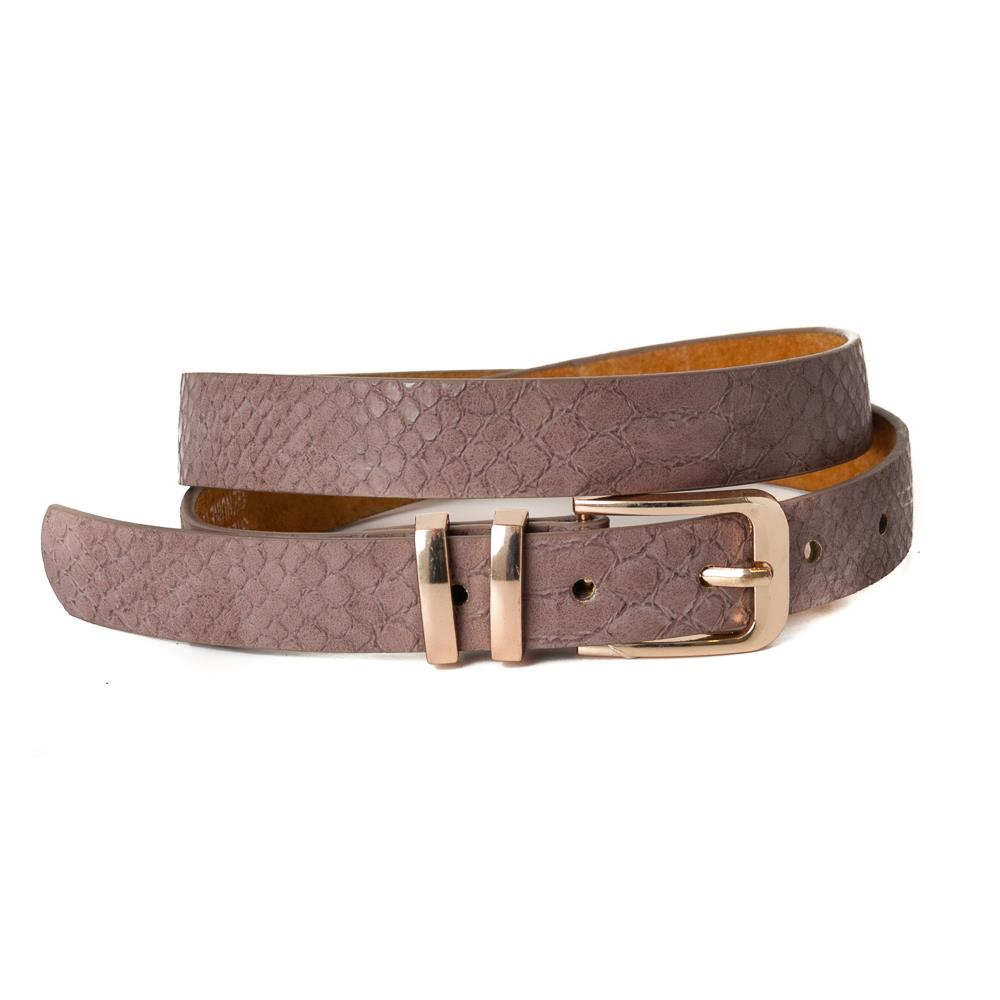 Belt, pu/leather croco square buckle trippel metal loop dusty