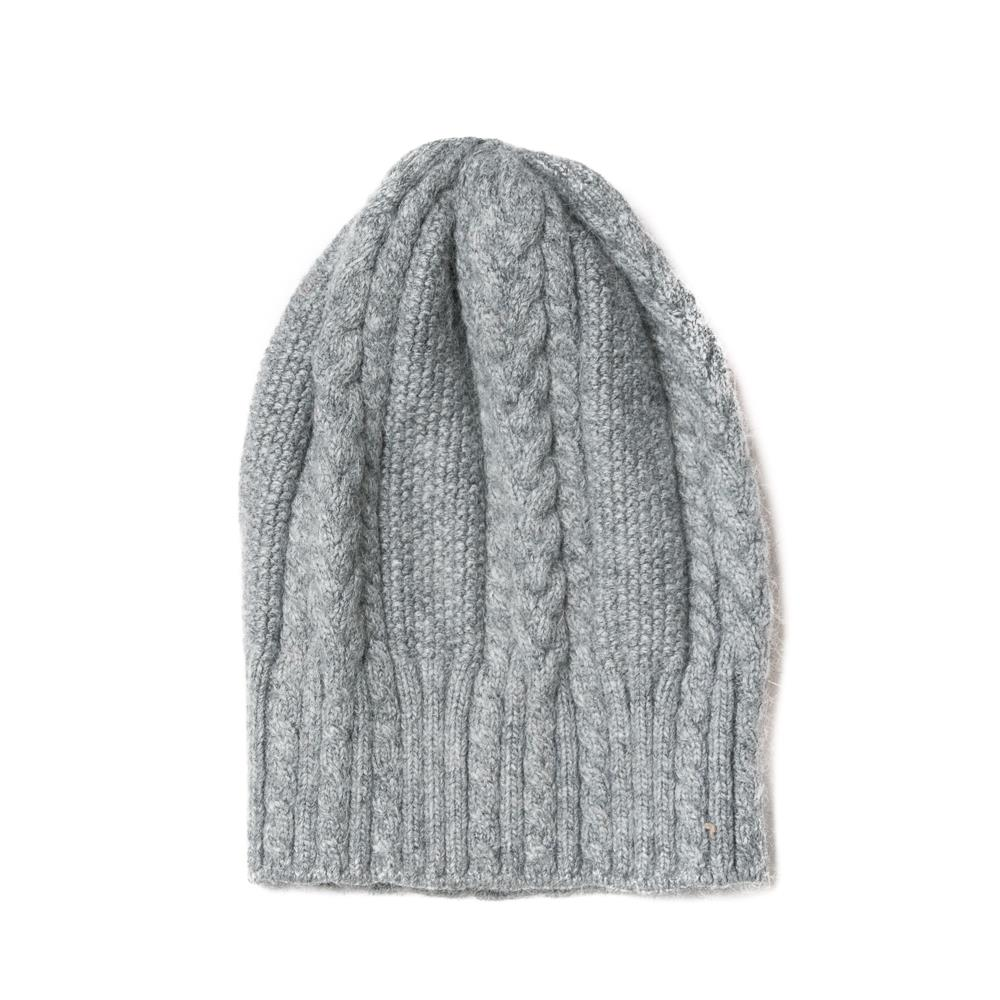 Hat, knitted kabel grey