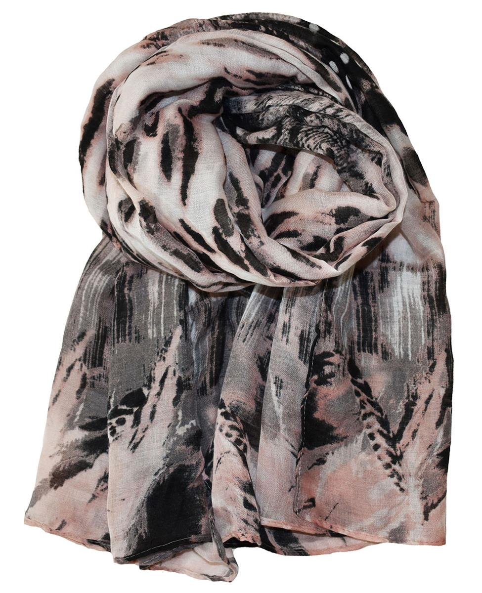 Scarf, feather and animalprinted