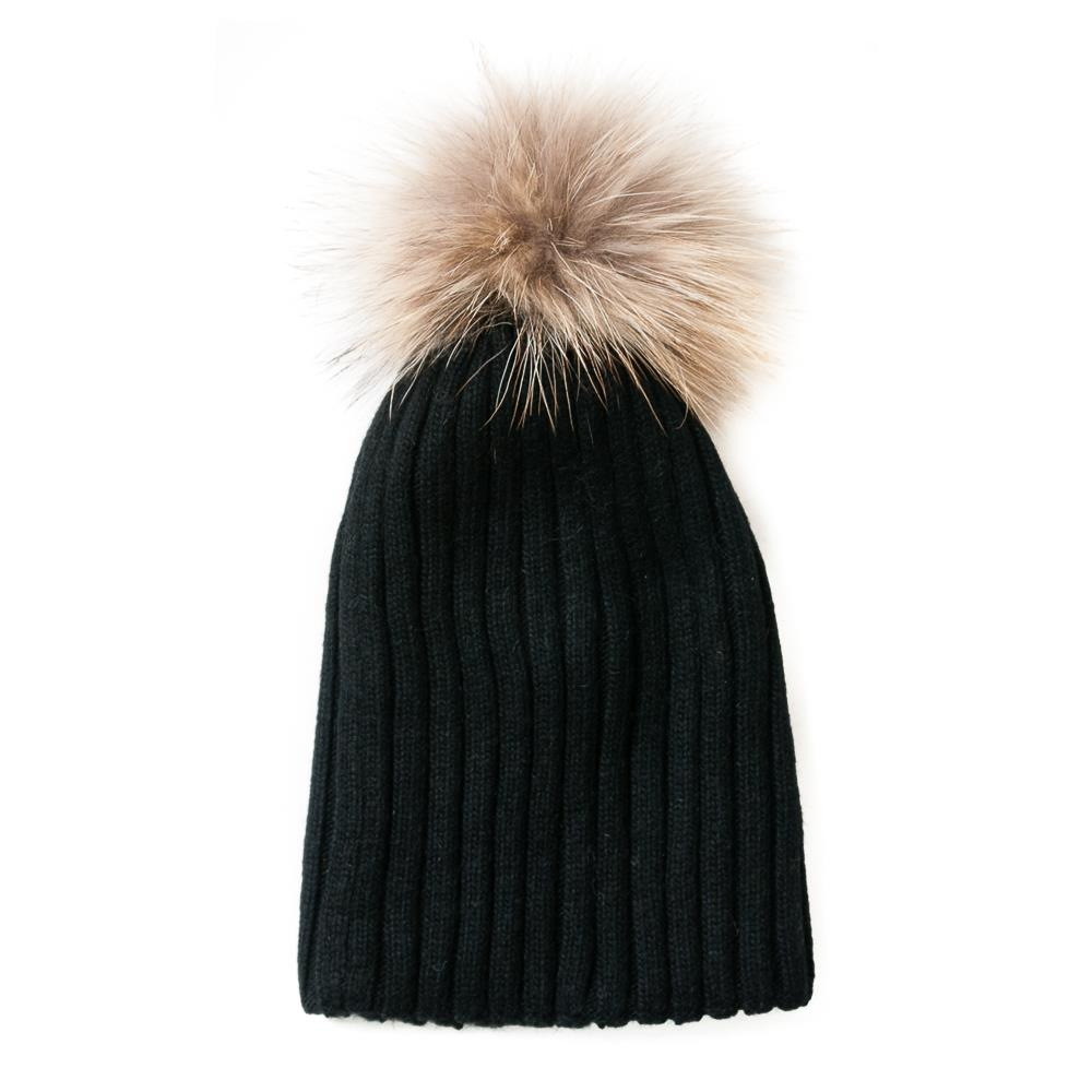 Hat,kabel knitted w fur pompom black