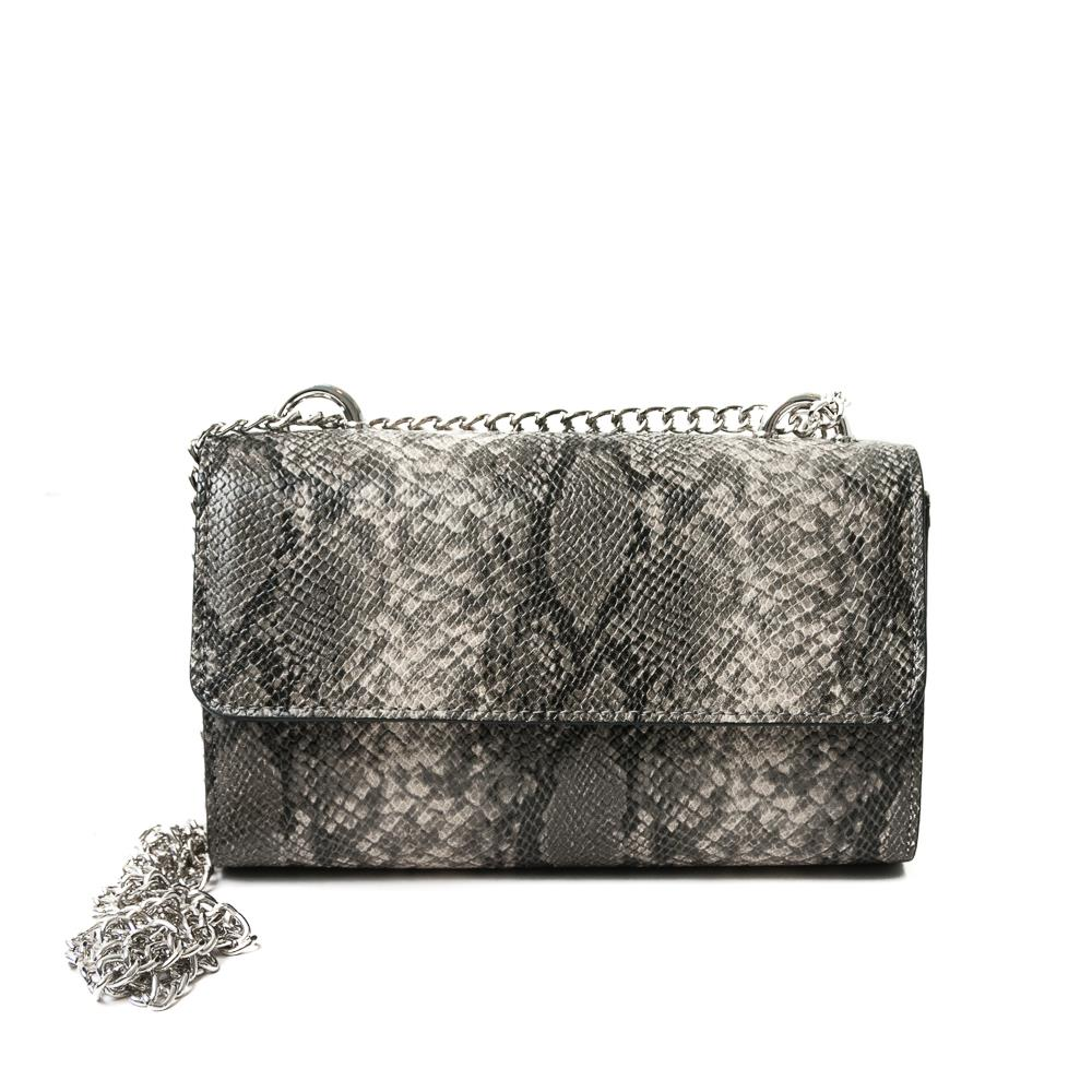Bag, Party bag Snake with chain Grey
