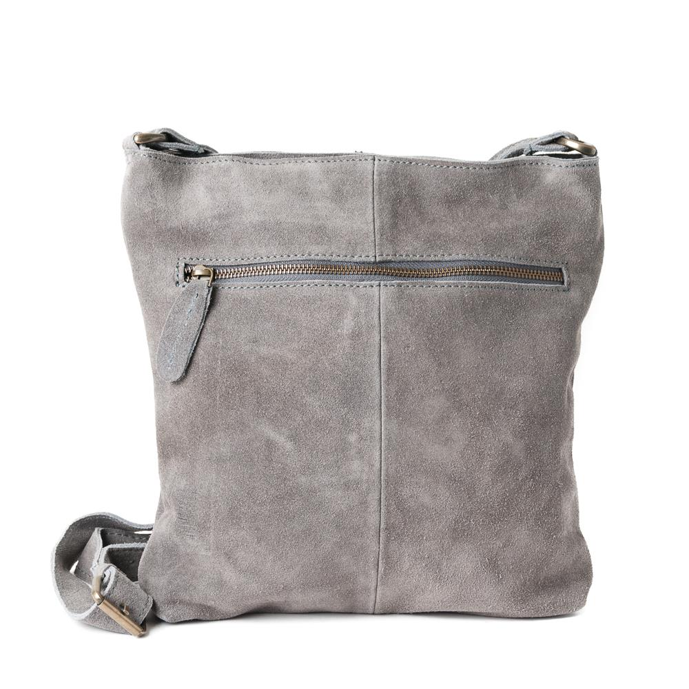 Bag, suede leather with zipper grey