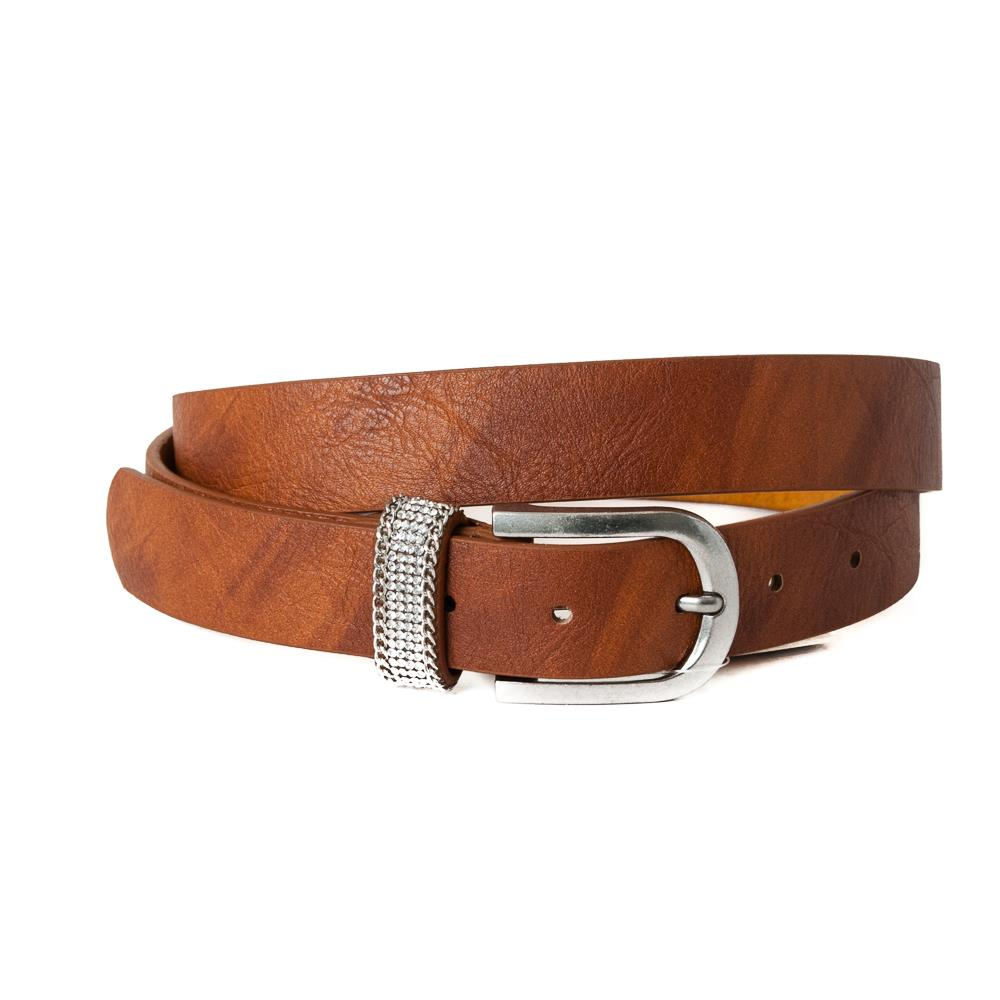 Belt,Small belt Strass stone loop Cognac