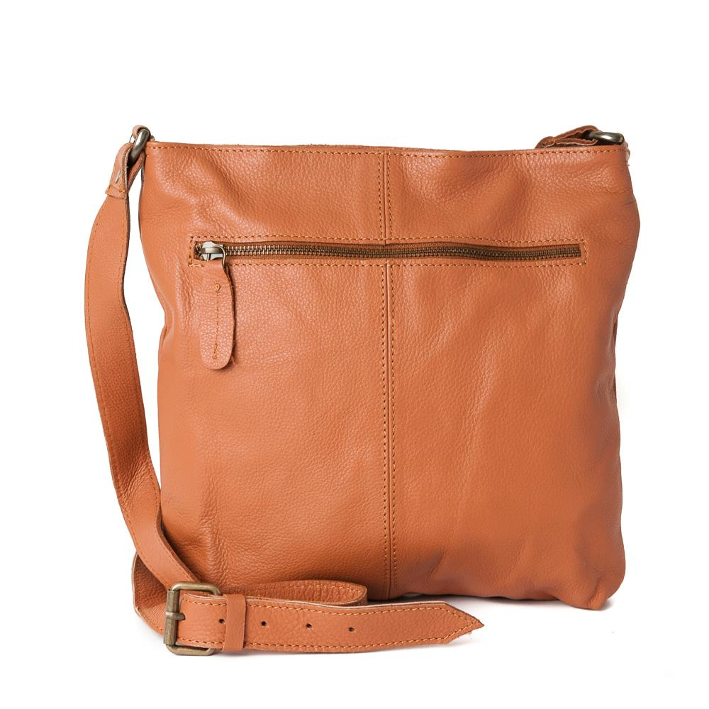 Bag, leather with zipper NDMI cognac