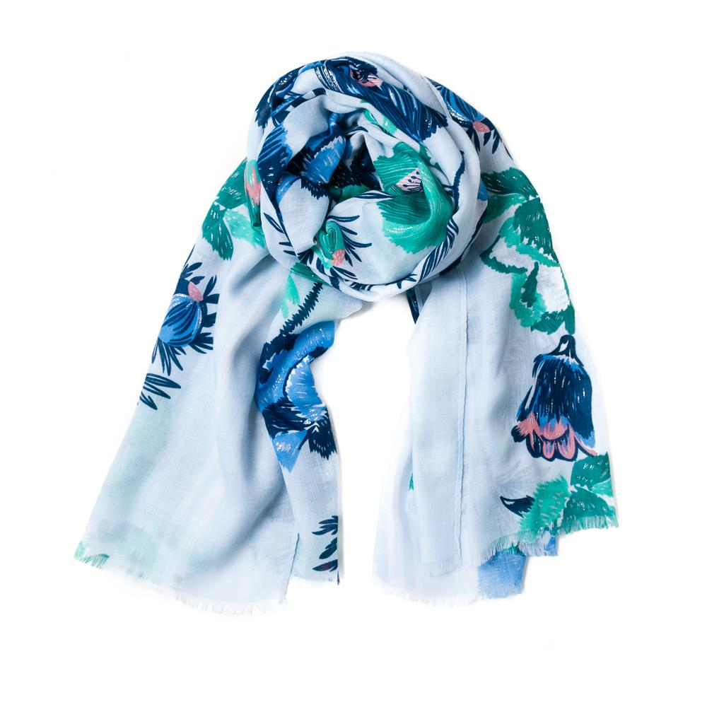 Scarf, flowerprint blue