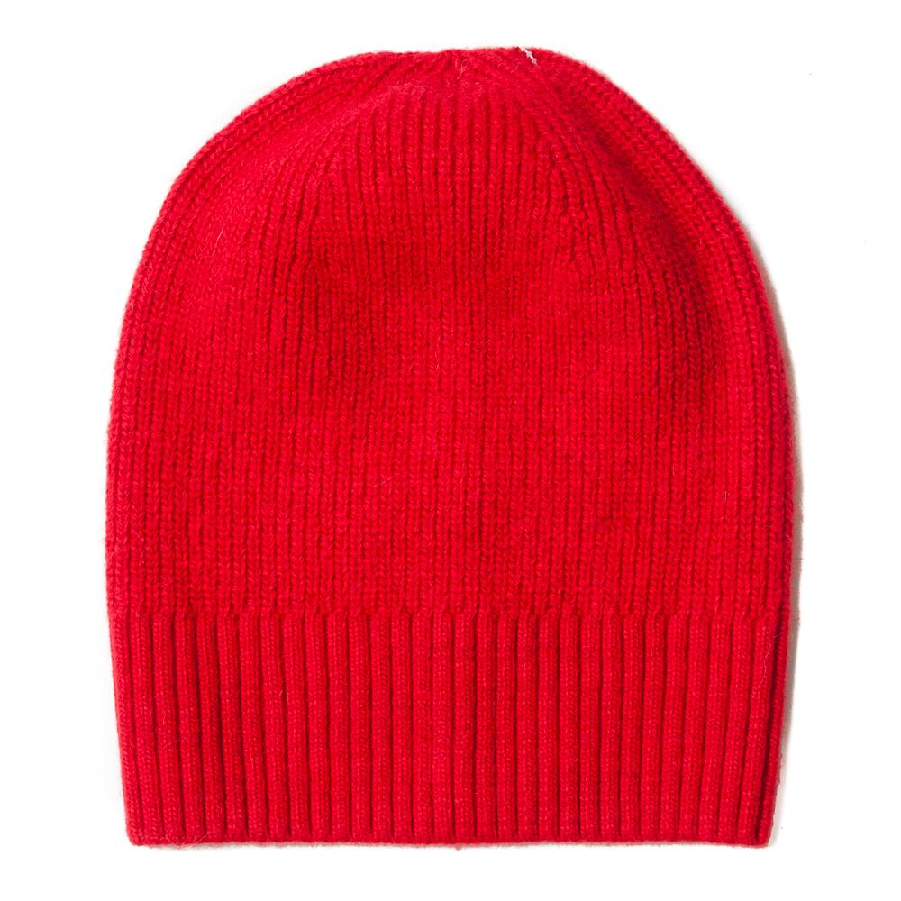 Hat, knitted wool plain red