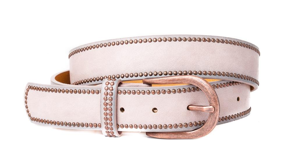 Belt, PU/Leather plain w copper rivets dusty pink