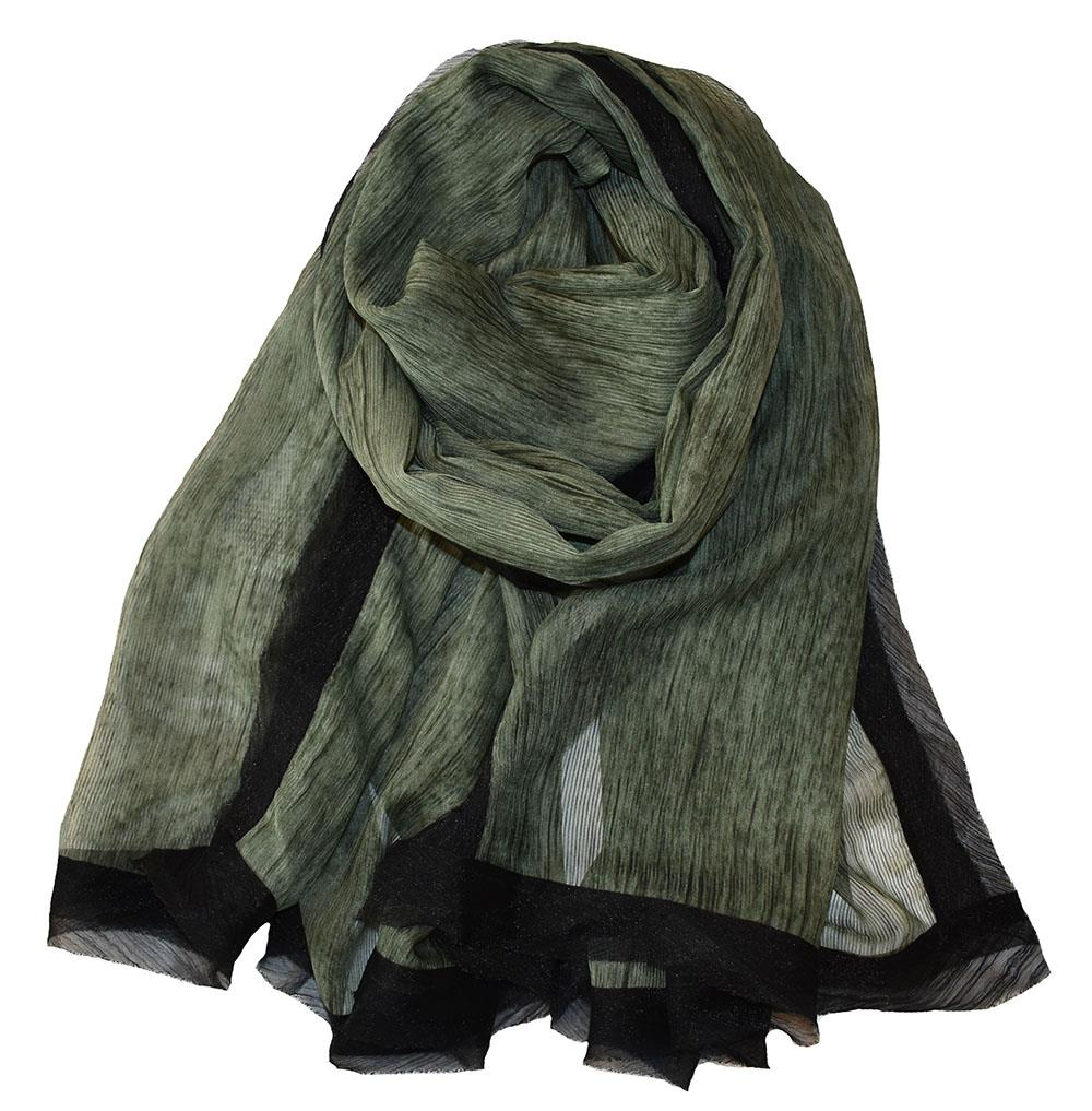 Scarf, dark green chiffon with edge