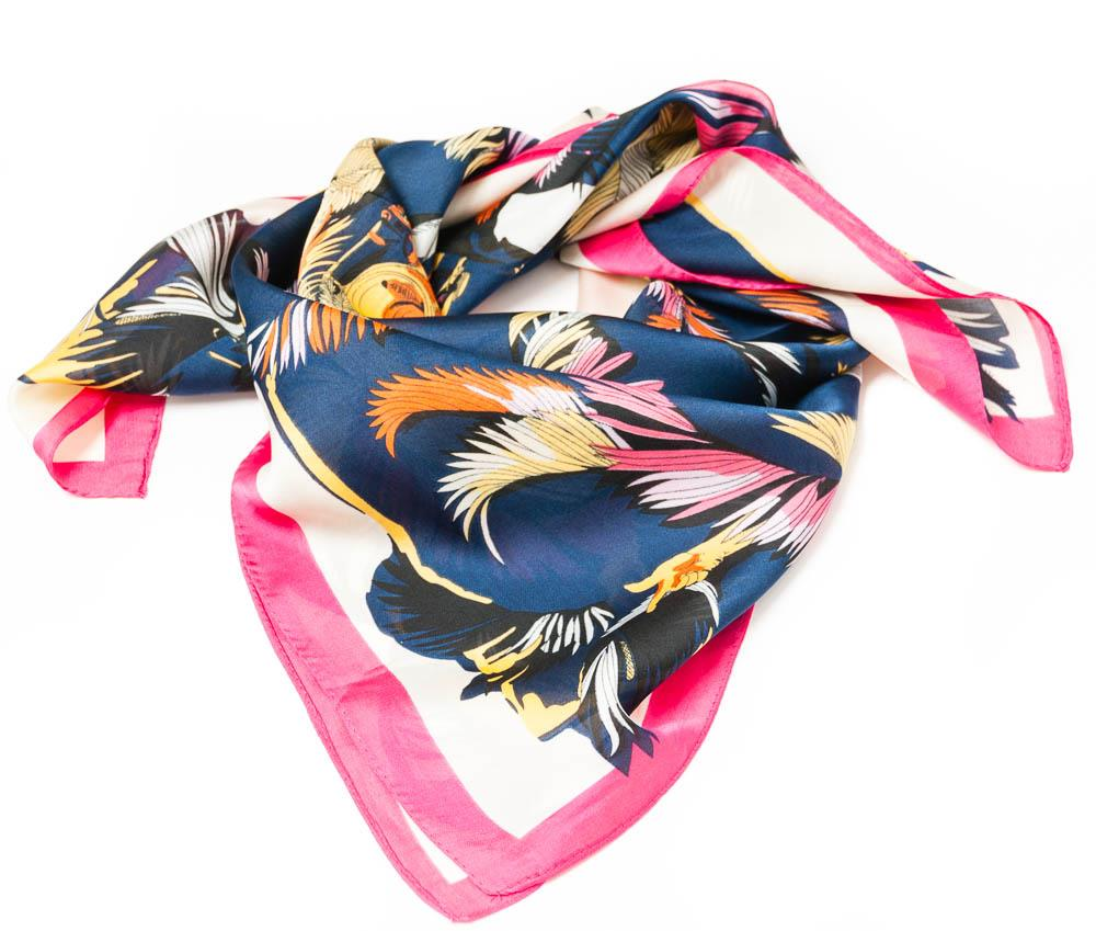 Scarf, small feather print navy