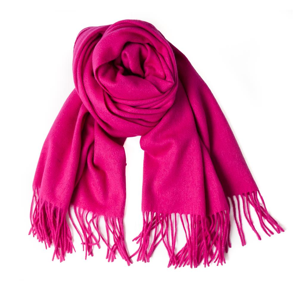 Scarf boiled wool scarf w fringes, Pink