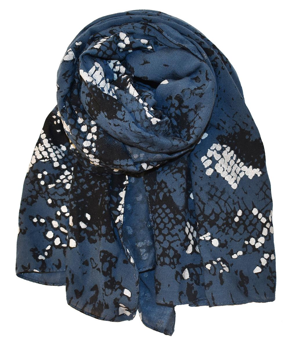 Scarf, Animalprint with foil blue