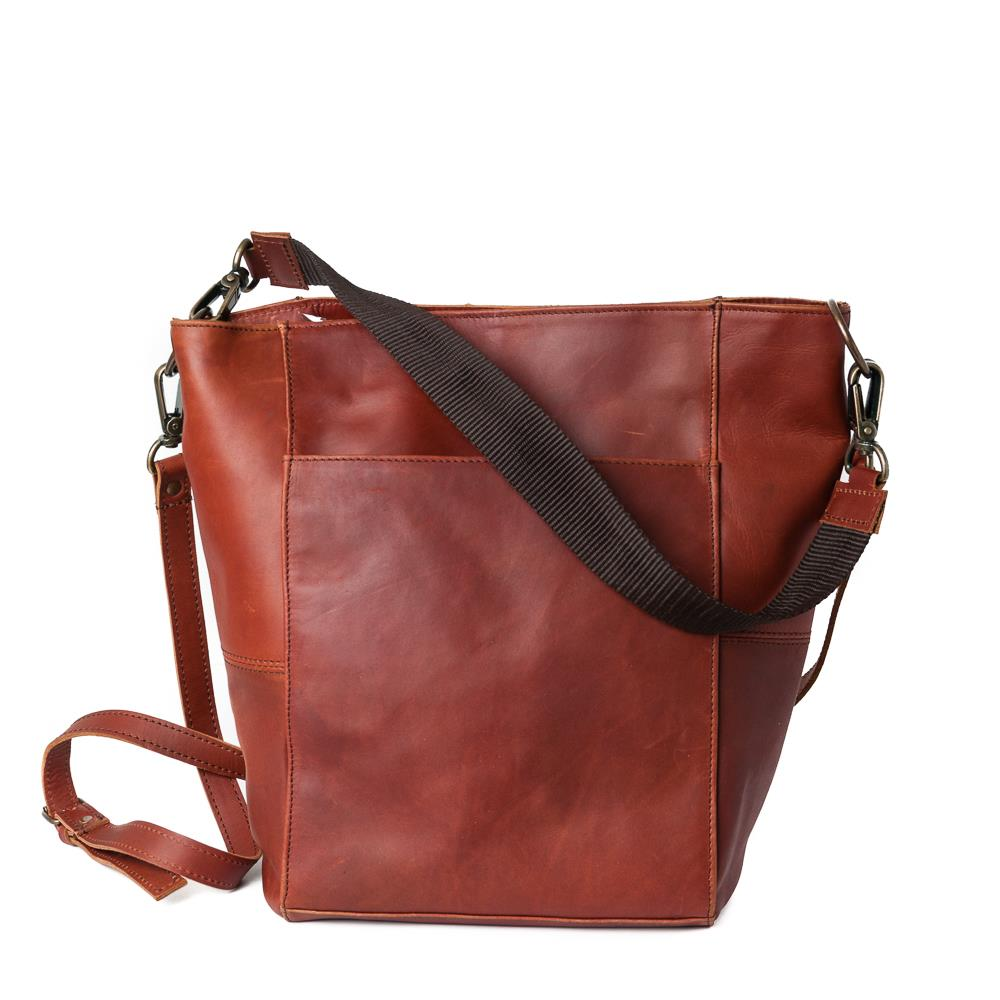 Bag, leather small crossbag dk brown