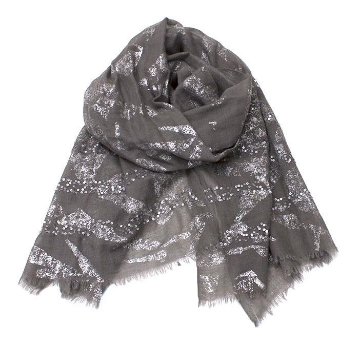 Scarf, silk and wool scarf w sequinces