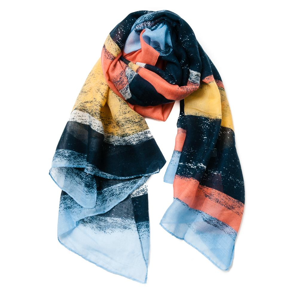 Scarf, grafical color block navy