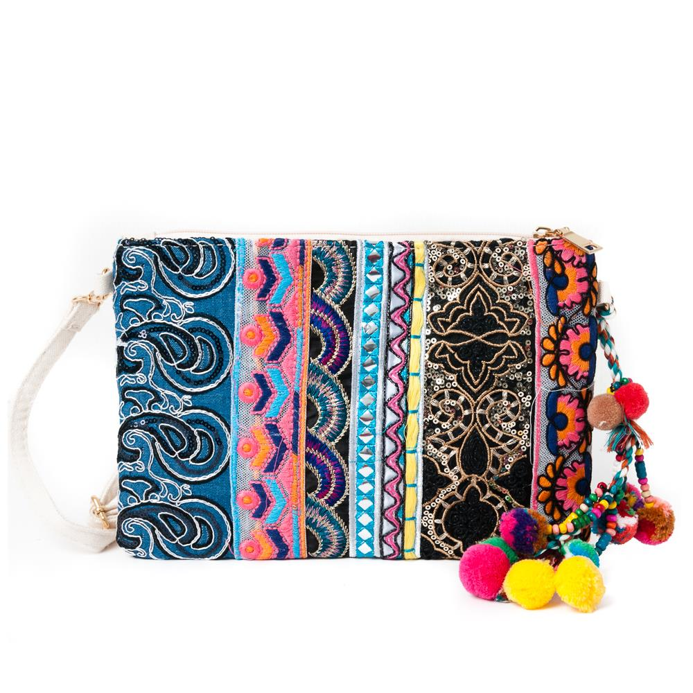 Bag, embroidery clutch multicolor