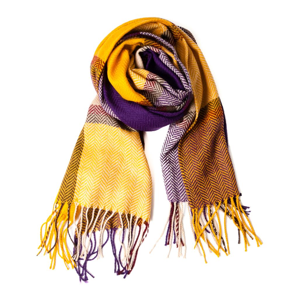 Scarf,Check printed woven scarf Yellow