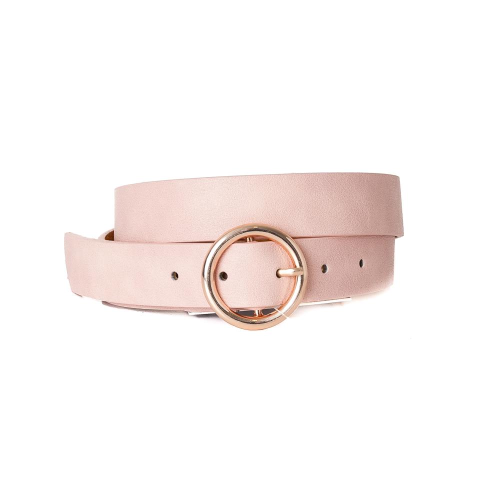 Belt, with sirkle buckle dusty pink, Gold Buckle