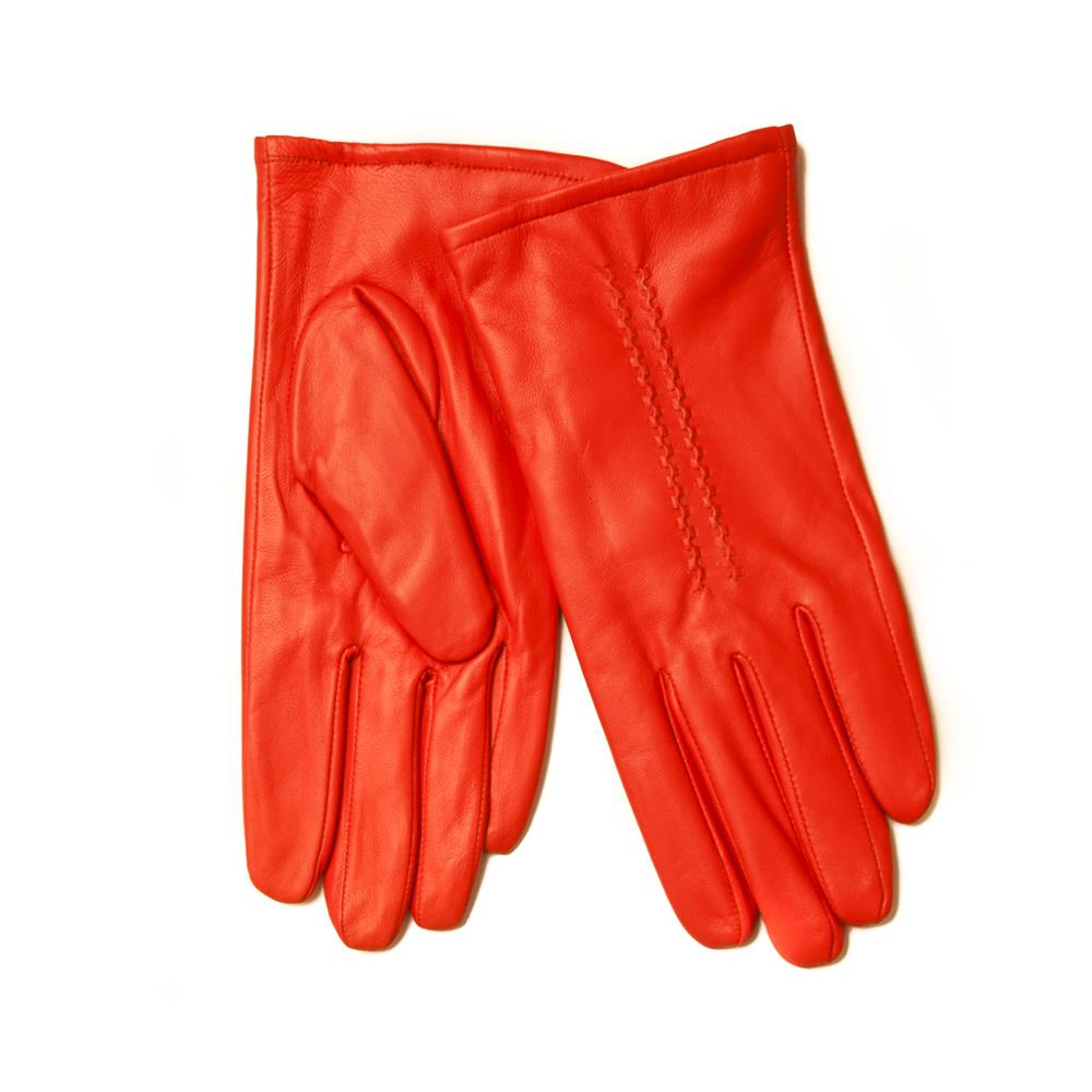 Gloves, leather sewing stiches orange
