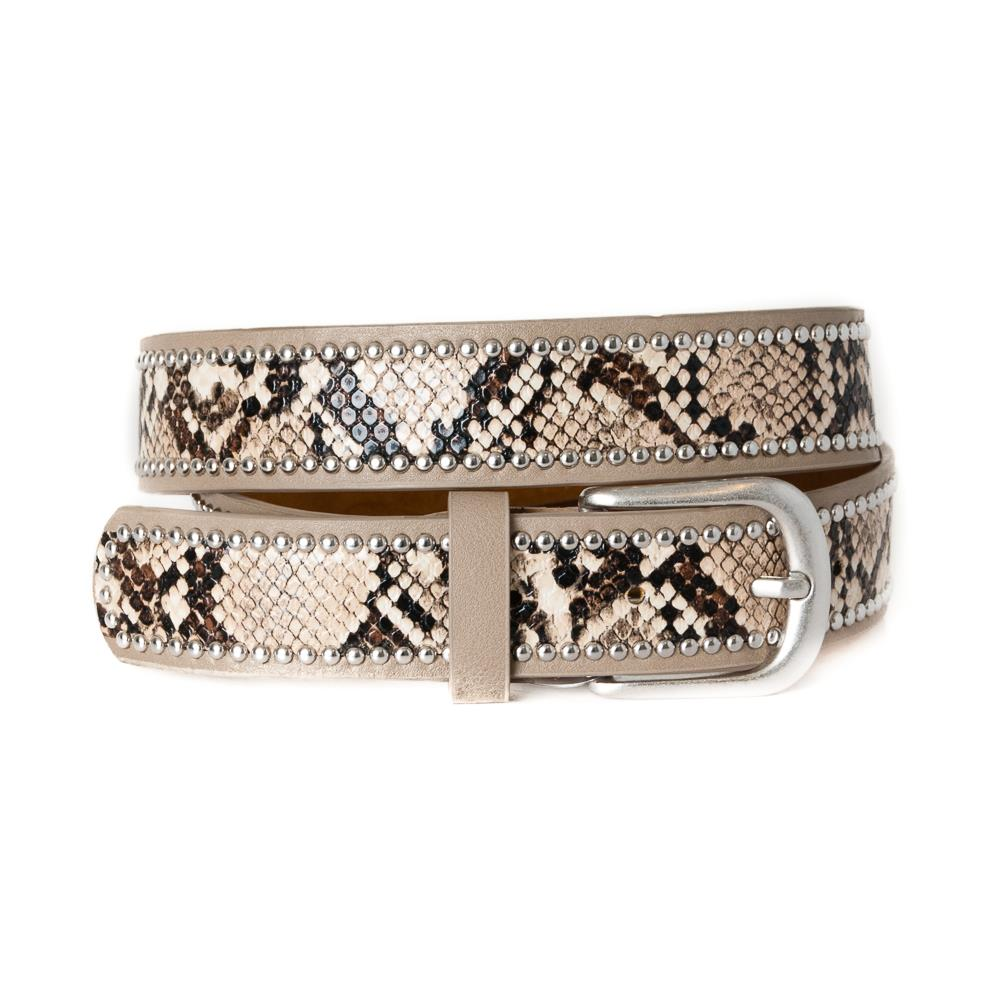 Belt, Snake pattern with rivets lt beige