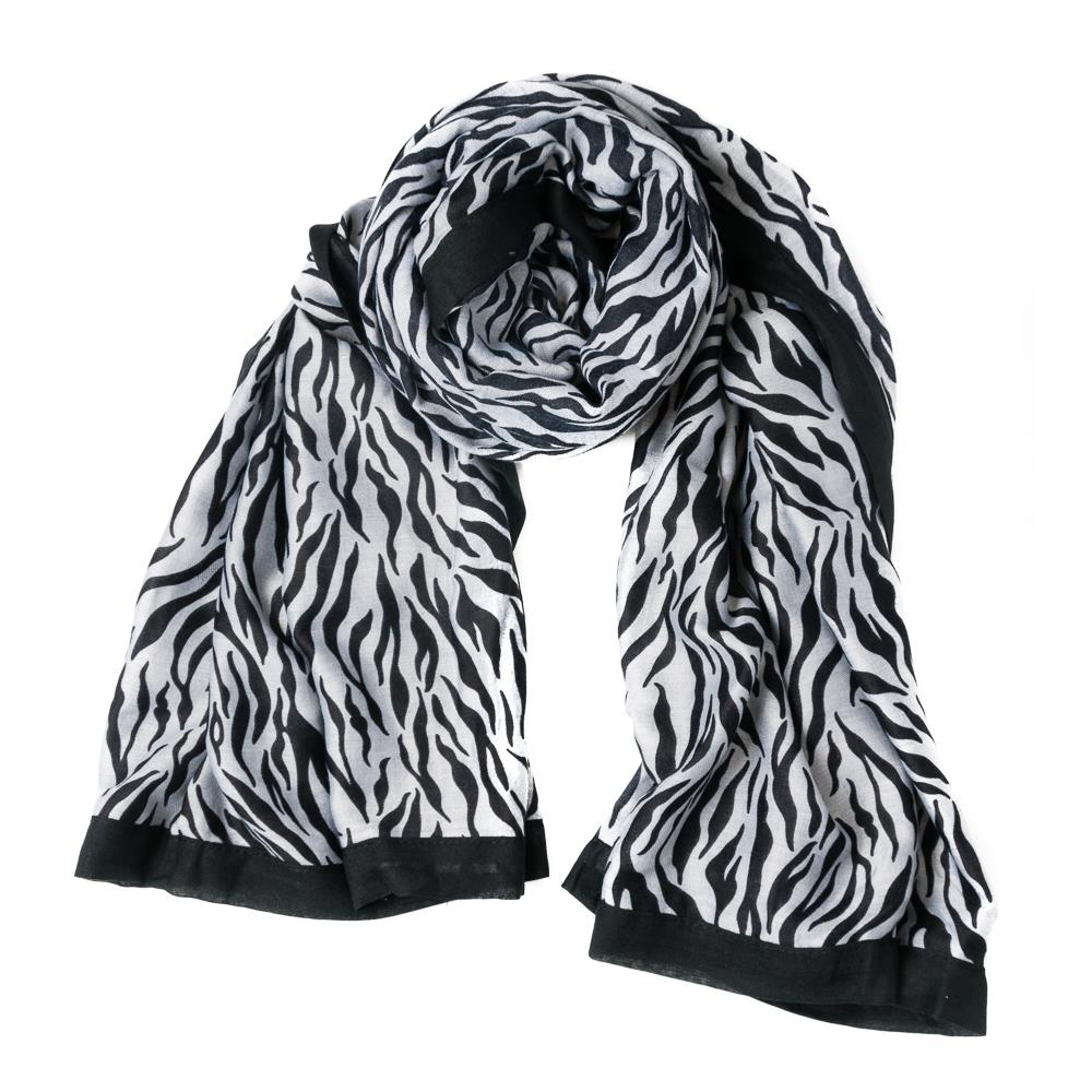 Scarf, zebra pattern with colorfull edges black