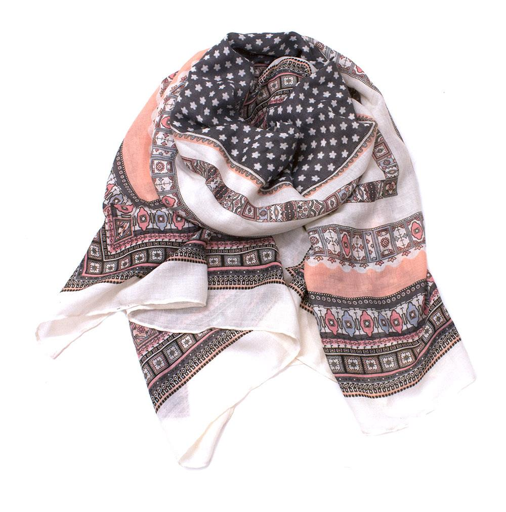 Scarf, Paisley pattern grey/Lt pink