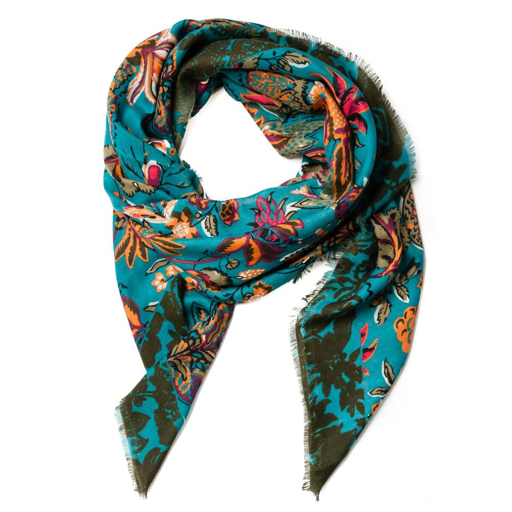 Scarf, autum flower square petrol