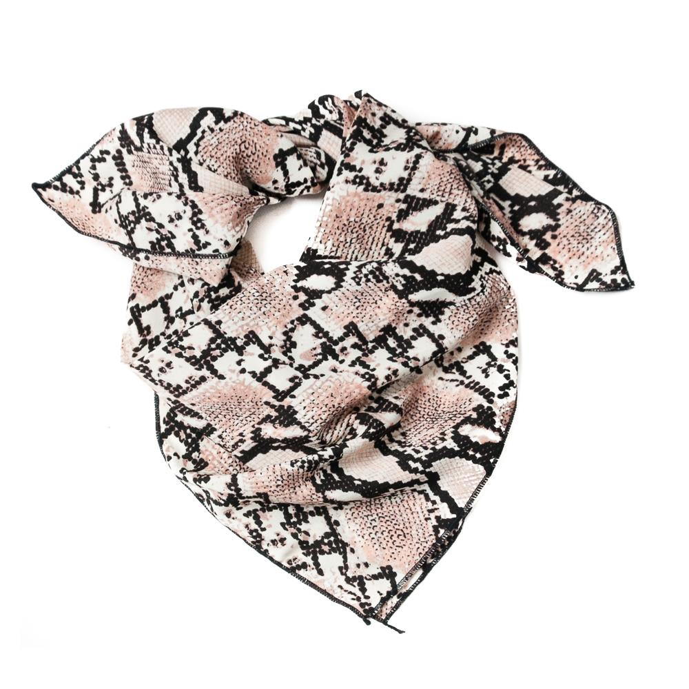 Scarf, small snake pattern dusty pink
