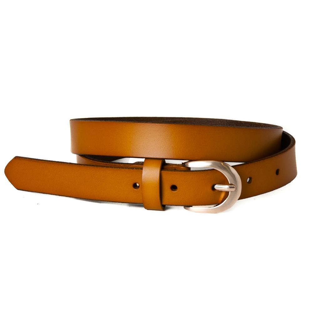 Belt, leathet oval buckle yellow