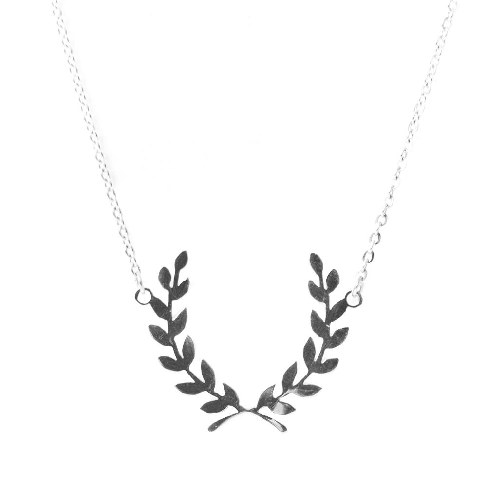Necklace,Steel leaf silver