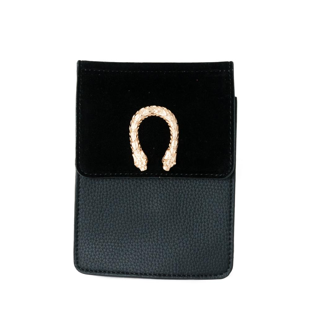 Bag, small snake buckle clutch black