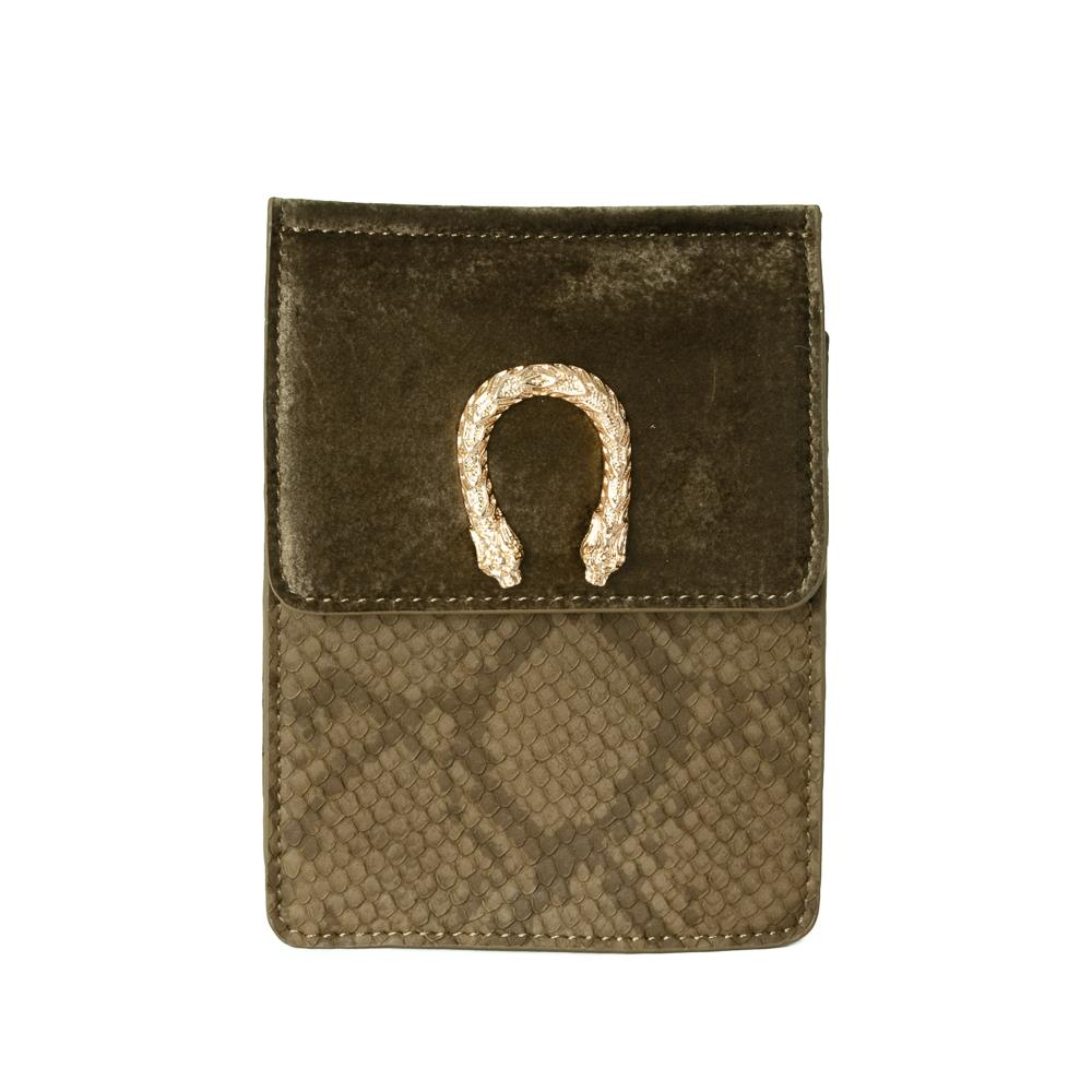 Bag, small snake buckle clutch army green