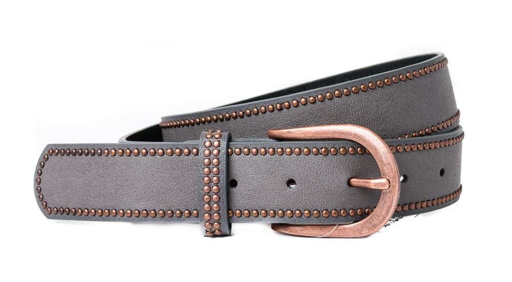 Belt, PU/Leather plain w copper rivets ecru