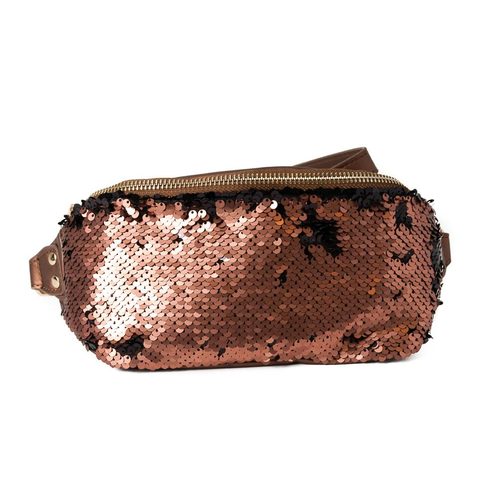 Bag, Bumbag big sequinces copper