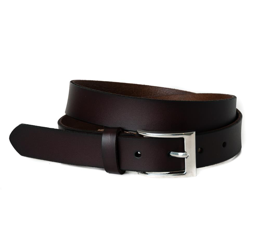 Belt, leather square buckle dk brown