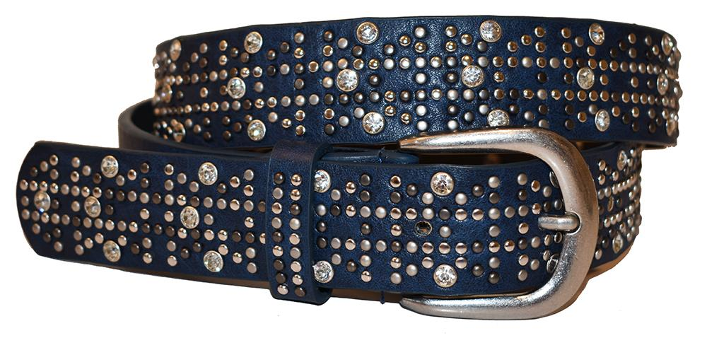 Belte PU/skinn rivets and stones navy