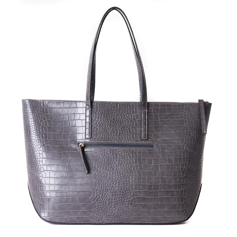 Bag, croco shopper grey