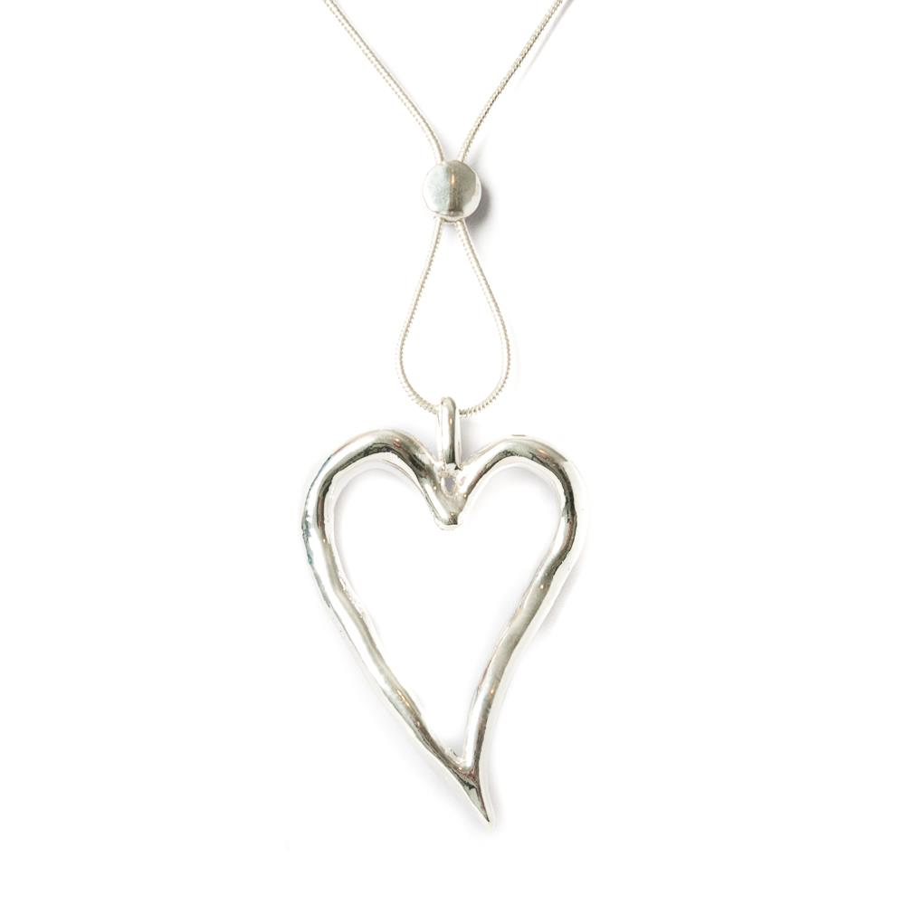 Necklace, sigle heart silver