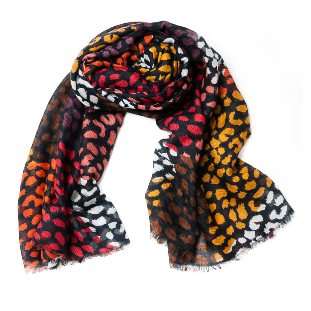 Scarf, multidot print mix