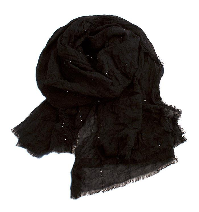 Scarf, soft polyester scarf w thin line of sequinces
