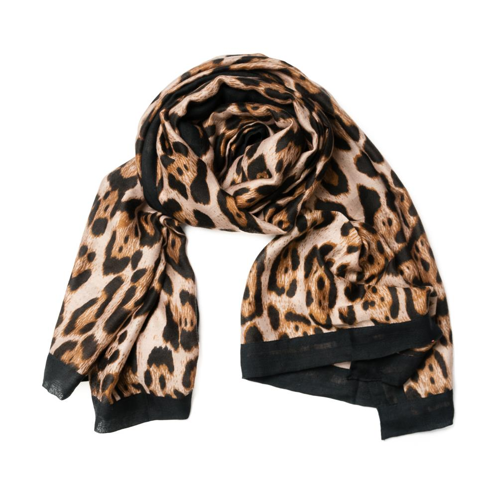 Scarf, leopattern black edge brown