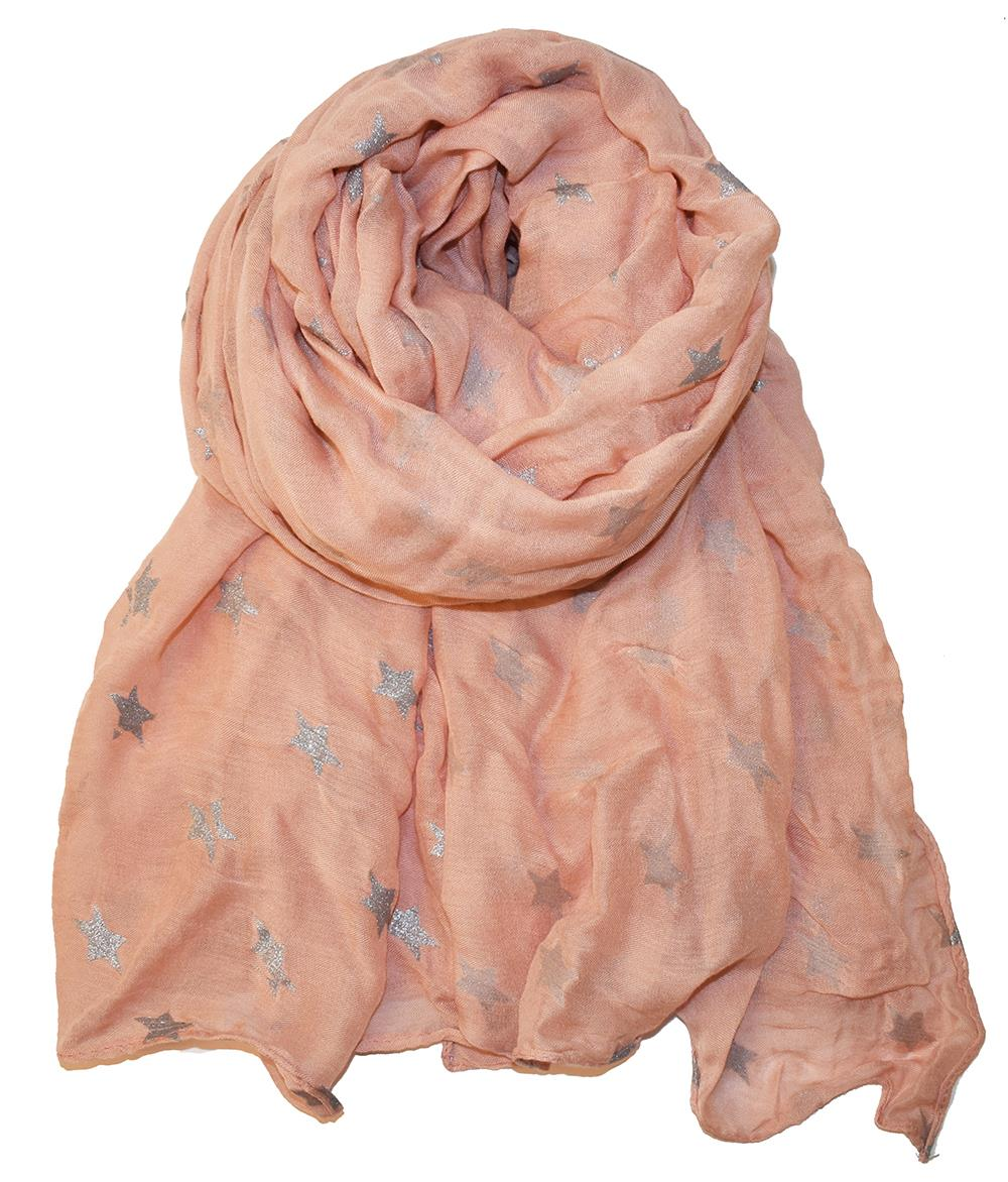 Scarf, Light pink modal scarf with silver stars