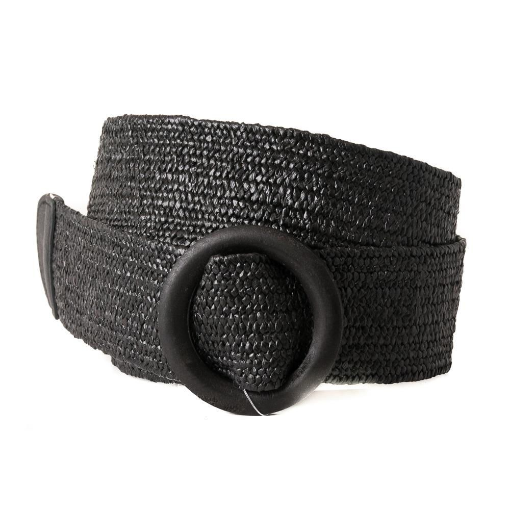 Belt, wide elastic wood buckle black