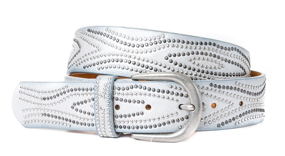 Belt, PU/Leather waves of rivets silver