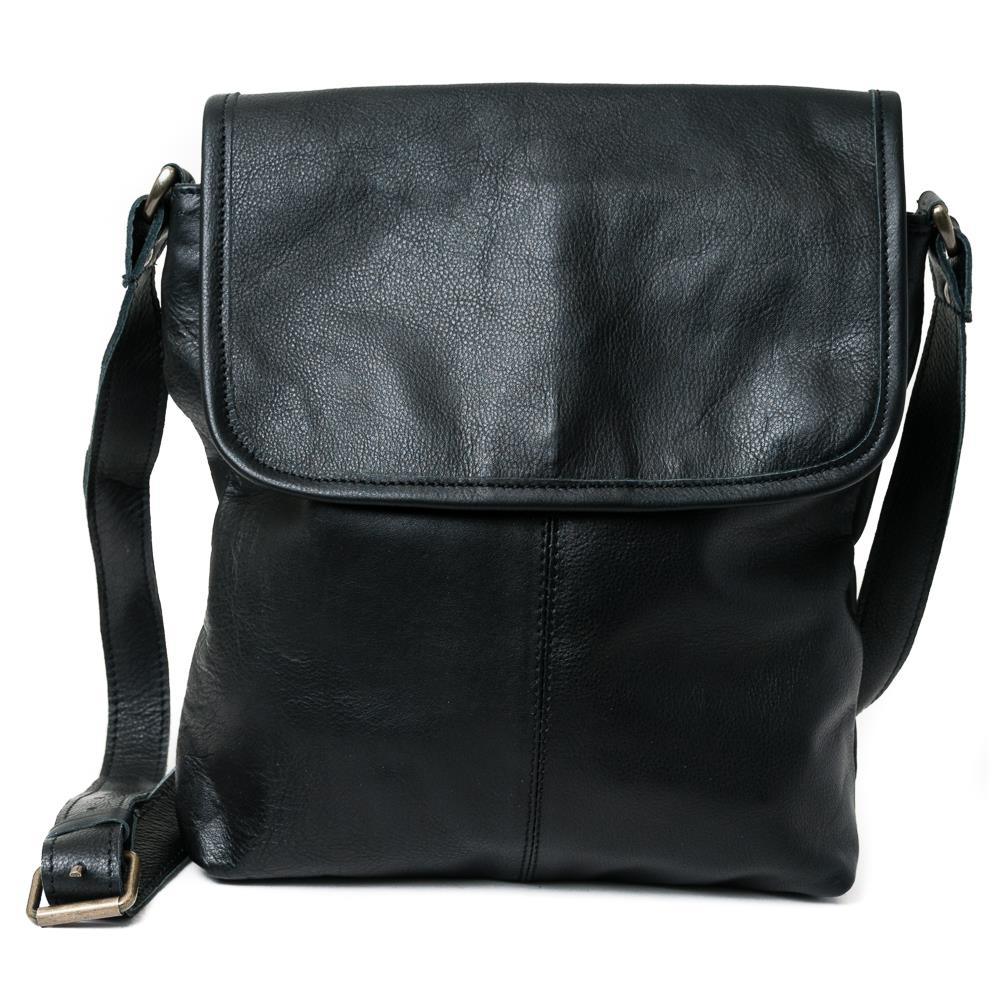 Bag, leather with flip NDMI black