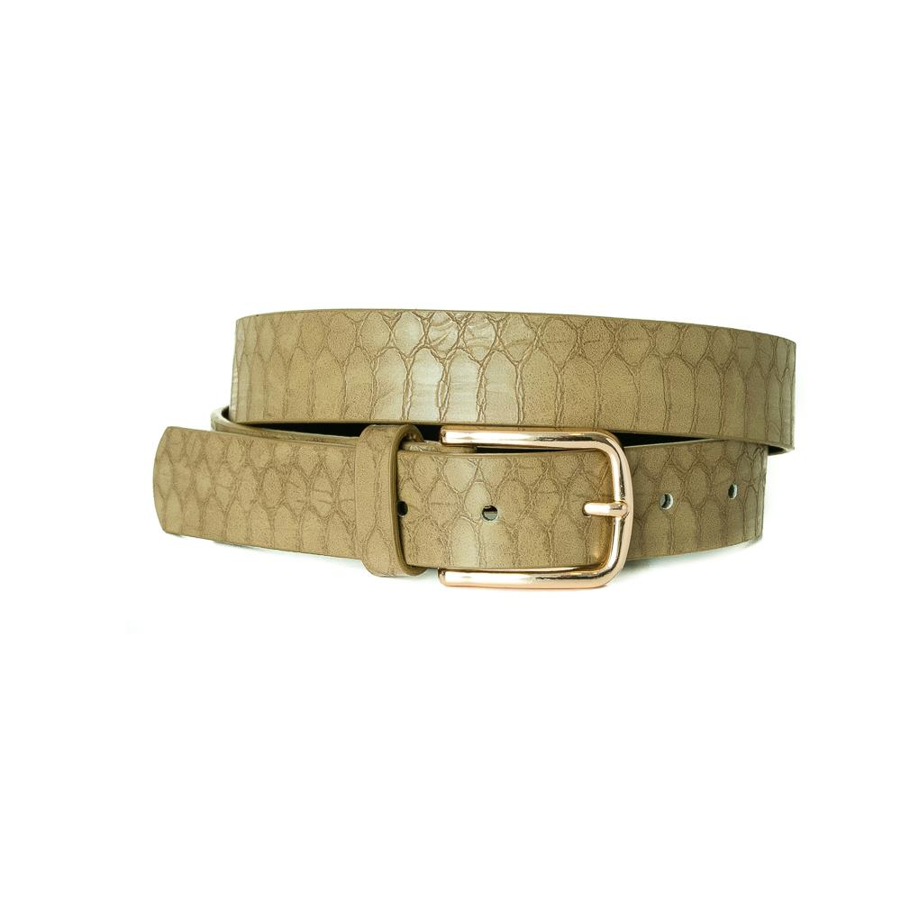 Belt, Croco Imm Belt Gold Buckle Army green