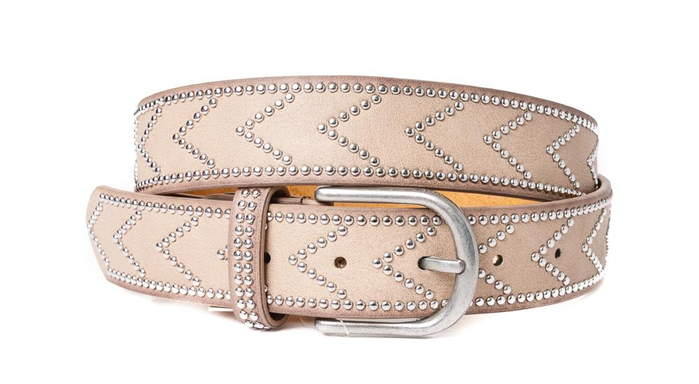 Belt, PU/Leather arrow rivets ecru
