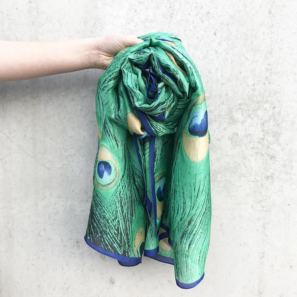 Scarf, Peacock print